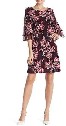 Sandra Darren Floral Layered Bell Sleeve Dress