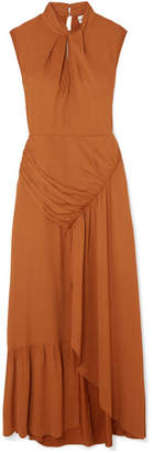 Self-Portrait Gathered Crepe Maxi Dress - Tan