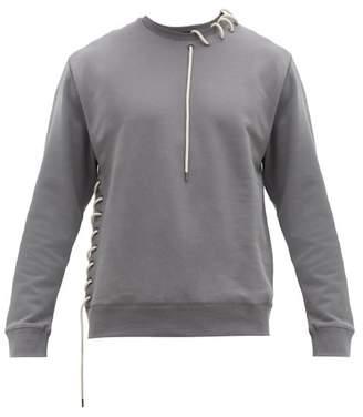 Craig Green Laced Crew Neck Cotton Jersey Sweatshirt - Mens - Grey