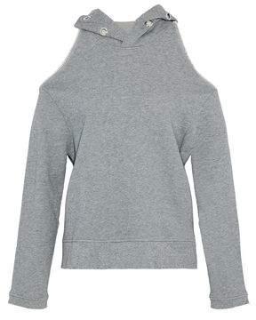 RtA Cold-Shoulder Eyelet-Embellished Distressed Cotton-Terry Sweatshirt