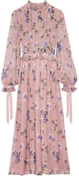MSGM - Pleated Floral-print Silk-chiffon Gown - Pastel pink