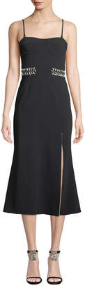 Jonathan Simkhai Crepe Bustier Midi Dress with Chain Detail