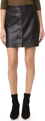 Madewell Button Front Leather Skirt $198 thestylecure.com
