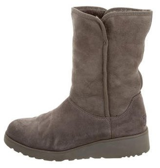 UGG Australia Suede Round-Toe Boots $90 thestylecure.com
