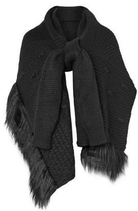 Simone Rocha Faux Fur-trimmed Alpaca-blend Scarf - Black