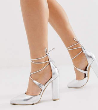 Glamorous Wide Fit silver block heeled tie up court shoes