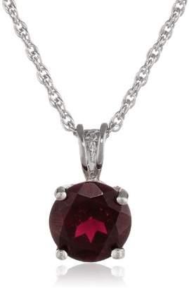 Sterling Round Garnet Pendant Necklace