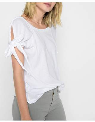 7 For All Mankind Bow Tie Sleeve Tee In White