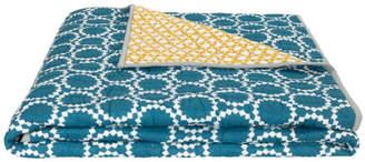 Agadir Cotton Reversible Bedspread, Teal and Saffron Yellow