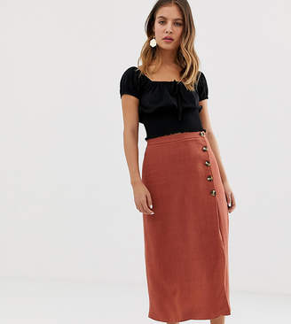 New Look skirt with asymmetric hem in rust