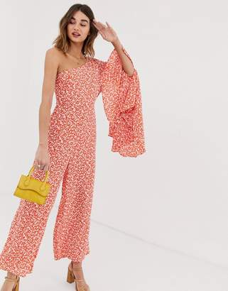 Lost Ink asymmetric jumpsuit with flared sleeve in vintage ditsy