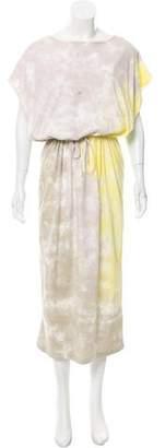 Black Crane Tie-Dye Midi Dress