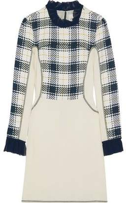 3.1 Phillip Lim Paneled Checked Crepe Mini Dress
