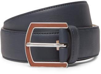 Loro Piana 3.5cm Navy Full-Grain Leather Belt