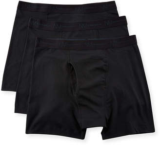 Neiman Marcus Men's 3-Pack Cotton-Stretch Boxer Briefs Black
