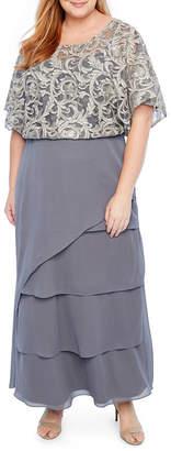 MAYA BROOKE Maya Brooke Tiered Poncho Embroidered Dress - Plus