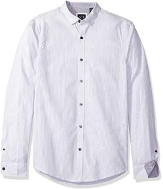 Armani Exchange A|X Men's Poplin Long Sleeve Button up Woven