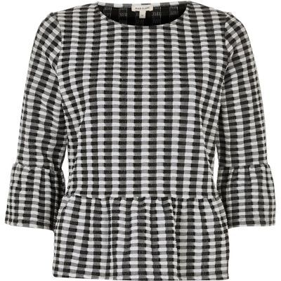 River Island River Island Womens Black and white gingham frill top