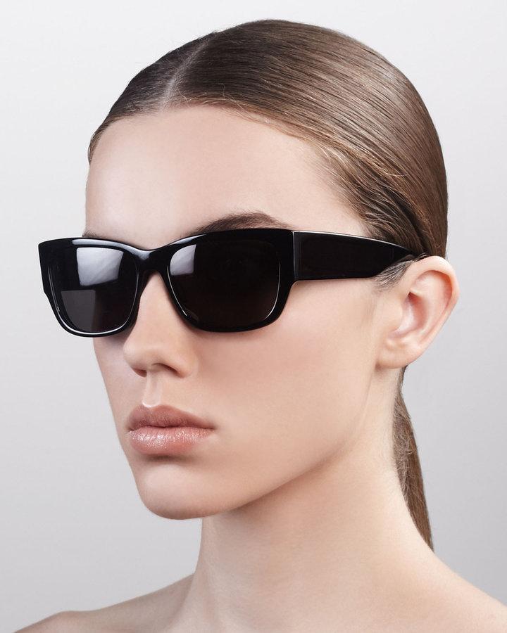 Barton Perreira Sasha Wide-Arm Square Sunglasses, Black