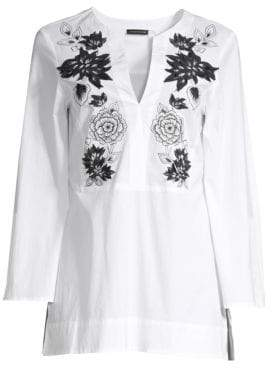 Josie Natori Embroidered Cotton Poplin Tunic