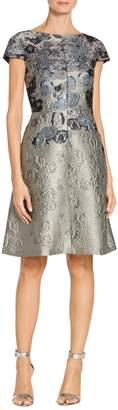 St. John Metallic Rose Motif Jacquard Cap Sleeve Dress