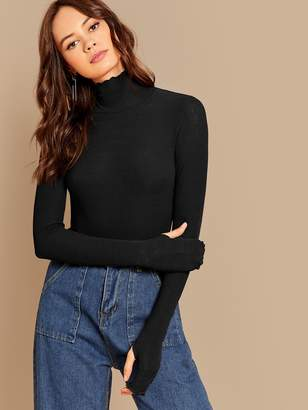 Shein Lettuce Trim High Neck Thumb Hole Tee
