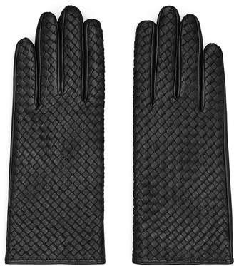 Reiss MILLY LEATHER WOVEN GLOVES Black