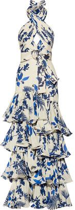 Johanna Ortiz - Magdalena Ruffled Printed Silk-georgette Gown - Cream