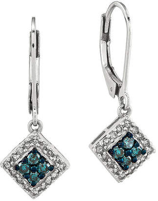 FINE JEWELRY 1/2 CT. T.W. White and Color-Enhanced Blue Diamond Sterling Silver Drop Earrings