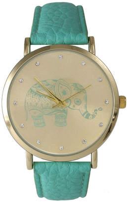 OLIVIA PRATT Olivia Pratt Womens Rhinestone Accent Elephant Dial Mint Leather Watch 26411Mint