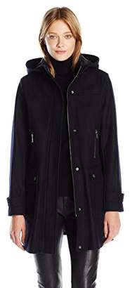 Tommy Hilfiger Women's Wool Coat with Plaid Lined Removable Hood