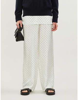 Theory Polka-dot high-rise wide silk-twill trousers