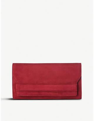 LK Bennett Red Poppy Ella Suede Clutch Bag