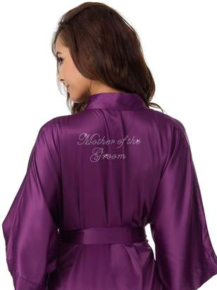 SIORO Personalized Satin Robes Bridal Wedding Party Pajamas Night Gowns for Mother of the Bride, Navy Blue, XL
