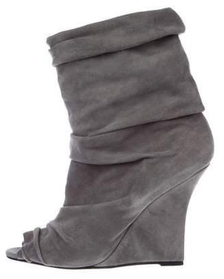 Manolo Blahnik Suede Peep-Toe Wedge Boots