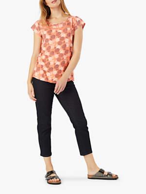 White Stuff Frieda Jersey T-Shirt, Papaya Pink Print