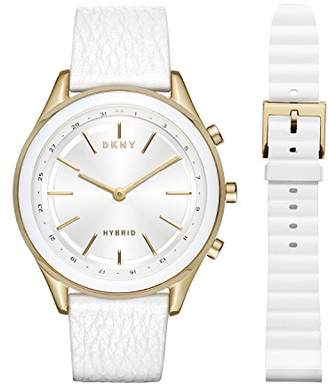 DKNY Women's 'Woodhaven Hybrid' Quartz Stainless Steel and Leather Smart Watch