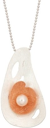 5th & Main 14kt Rose Gold-Plated and Sterling Silver Floating Flower with Pearl Pendant Necklace