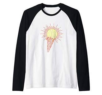 521936fa81 Retro Beach Shirts: Tropical Summer Ice Cream Cone Sun Raglan Baseball Tee