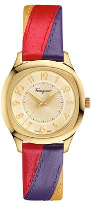 Salvatore Ferragamo Time Square Leather Strap Watch, 36mm