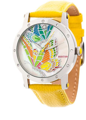 Isabella Collection Bertha Quartz Silver And Yellow Leather Watch 38Mm