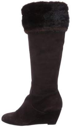 Aquatalia Mink-Trimmed Knee-High Boots