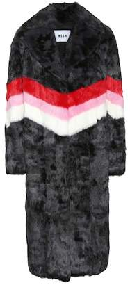 MSGM Striped fur coat
