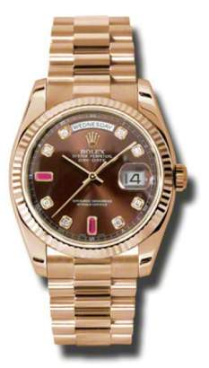 Rolex Day-Date President Rose Gold Chocolate Diamond and Ruby Dial 36mm Watch