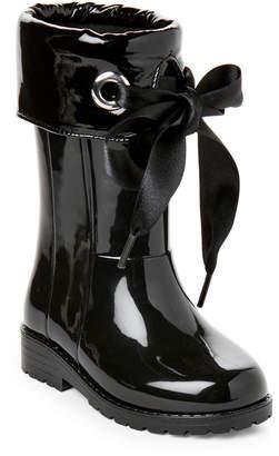 Igor Toddler/Kids Girls) Black Campera Satin-Bow Rain Boots