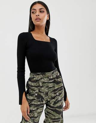 Missguided square neck ribbed crop top