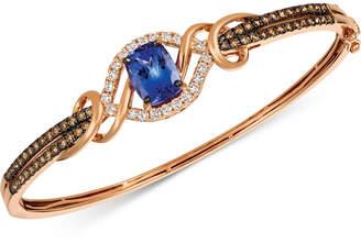 LeVian Le Vian Chocolatier Blueberry Tanzanite (2 ct. t.w.) & Diamond (1-3/8 ct. t.w.) Bangle Bracelet in 14k Rose Gold
