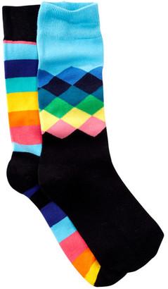 Happy Socks Diamonds & Stripes Crew Socks - Pack of 2 $24 thestylecure.com