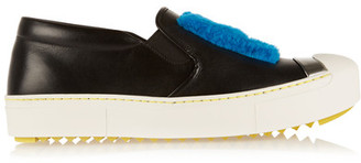 Fendi - Faux Shearling-trimmed Leather Slip-on Sneakers - Black $750 thestylecure.com