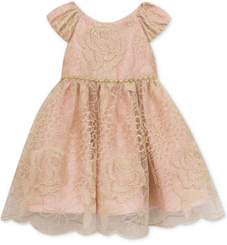 Rare Editions Embroidered Mesh Fit & Flare Dress, Baby Girls